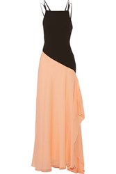 Halston Heritage Embellished Leather Trimmed Crepe And Chiffon Gown Peach