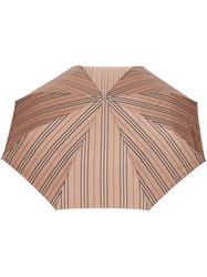 Burberry Icon Stripe Folding Umbrella Neutrals