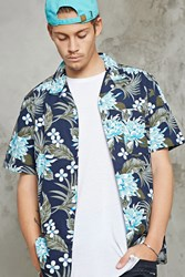 Forever 21 Floral Print Hawaiian Shirt Navy White