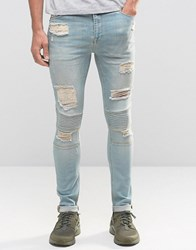 Asos Super Skinny Jeans With Rips In Biker Style Light Wash Bleach Blue