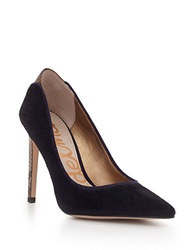 Sam Edelman Dea Brahman Hair Point Toe Pumps Navy Blue