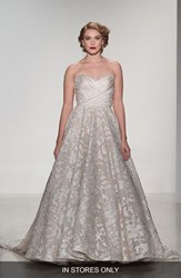 Women's Matthew Christopher 'Shelby' Strapless Organza And Lace Ballgown In Stores Only