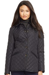 Women's Lauren Ralph Lauren Faux Leather And Shearling Trim Quilted Jacket Black