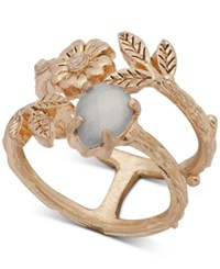 Lonna And Lilly Gold Tone Stone Flower Leaf Double Row Ring Created For Macy's Pearl