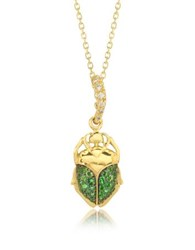 Aurelie Bidermann Tsavorites 18K Yellow Gold Scarab Mini Charm Pendant Beetle Mini W Chain
