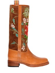 Etro 30Mm Embroidered Suede And Leather Boots