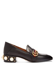 Gucci Peyton Faux Pearl Embellished Leather Pumps Black