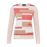 Viyella Colour Block Jumper Pink
