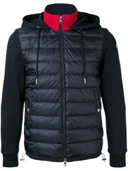 Moncler Contrast Neck And Sleeve Jacket Blue