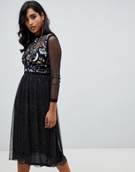 Frock And Frill Galactic Long Sleeve Star Print Midi Dress In Black
