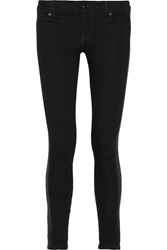 Balmain Leather Trimmed Mid Rise Skinny Jeans Black
