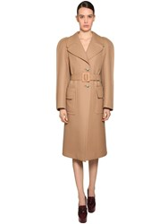 Givenchy Round Shoulder Double Wool Coat Camel