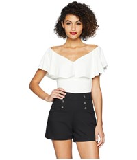 Unique Vintage Off Shoulder Ruffle Frenchie Knit Top White Clothing