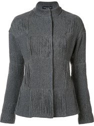 Narciso Rodriguez Textured Check Fitted Jacket Grey