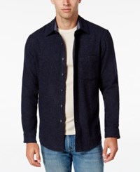 Club Room Men's Big And Tall Wool Long Sleeve Heather Over Shirt Only At Macy's Navy Heather