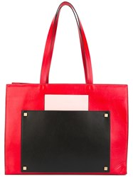 Visone Bertha Shopping Tote Women Cotton Leather One Size Red