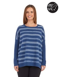 Lord And Taylor Petite Striped Cashmere Sweater Stormy Blue Heather