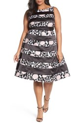 Adrianna Papell Plus Size Women's Print Stripe Fit And Flare Dress