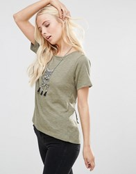 Only Back Lace Up T Shirt Dusty Olive Green