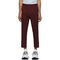 Thom Browne Burgundy Mid Rise Slim Fit Side Vent Trousers
