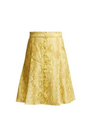 Emilia Wickstead Ines Python Print Linen Skirt Yellow