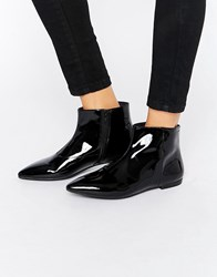 Vagabond Katlin Black Patent Leather Flat Boots Patent Leather