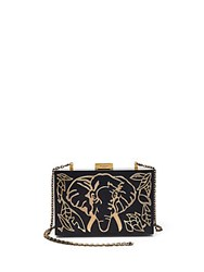 Valentino Elephant Wood And Metal Clutch Black