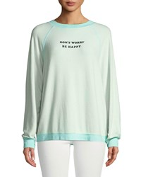 Wildfox Couture Be Happy Graphic Raglan Sweatshirt Green Blue