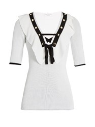 Sonia Rykiel Ruffle Trimmed V Neck Top White Multi