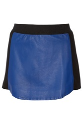 Mason By Michelle Mason Ponte Paneled Leather Mini Skirt Blue