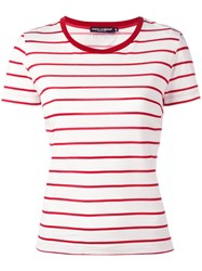 Dolce And Gabbana Breton Stripe T Shirt Red