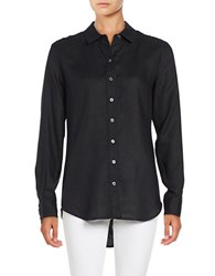 Lord And Taylor Plus Long Sleeve Linen Shirt Black