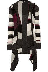 Line Shelby Striped Cashmere Cardigan Gray