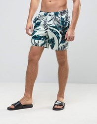 Asos Swim Shorts With Floral Print In Mid Length Blue