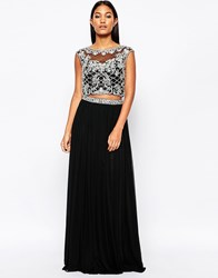 Forever Unique Maisy Two Piece With Embellished Top And Maxi Skirt Black
