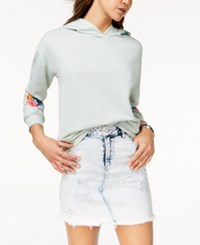 Almost Famous Juniors' Floral Embroidered Hoodie Mint