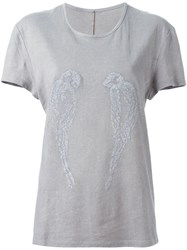 Alice Waese Embroidered T Shirt Grey