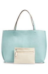 Street Level Reversible Faux Leather Tote And Wristlet Green Sage Ivory