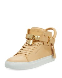 Buscemi Men's 100Mm Leather Mid Top Sneaker Natural Neutral Pattern