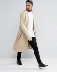 Asos Extreme Oversized Longline Jersey Duster Jacket In Beige Oxford Tan