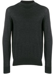 Z Zegna Long Sleeve Fitted Sweater Grey