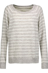 Current Elliott The Perfect Striped Cotton Blend Sweatshirt Gray