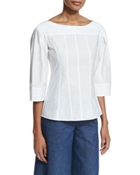 Derek Lam 3 4 Sleeve Boat Neck Tunic White