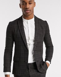 New Look Ginger Highlight Check Suit Jacket In Dark Brown