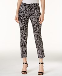 Alfani Printed Cropped Pants Only At Macy's Abstract Scribble Black White