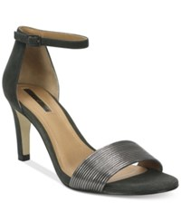 Tahari Novel Two Piece Ankle Strap Sandals Women's Shoes Black