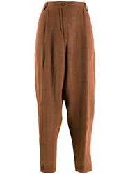 Barena Tapered Cropped Trousers Brown