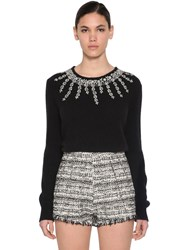 Giambattista Valli Embellished Cashmere And Silk Knit Sweater Black