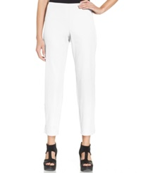 Eileen Fisher Slim Fit Side Zip Ankle Pants White