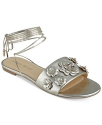 Ivanka Trump Catera Flat Lace Up Sandals Women's Shoes Gold Leather